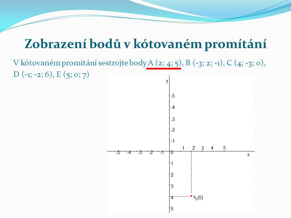 Zobrazení bodů v kótovaném promítání V kótovaném promítání sestrojte body A (2; 4; 5), B (-3; 2; -1), C (4; -3; 0), D (-1; -2; 6), E (5; 0; 7)