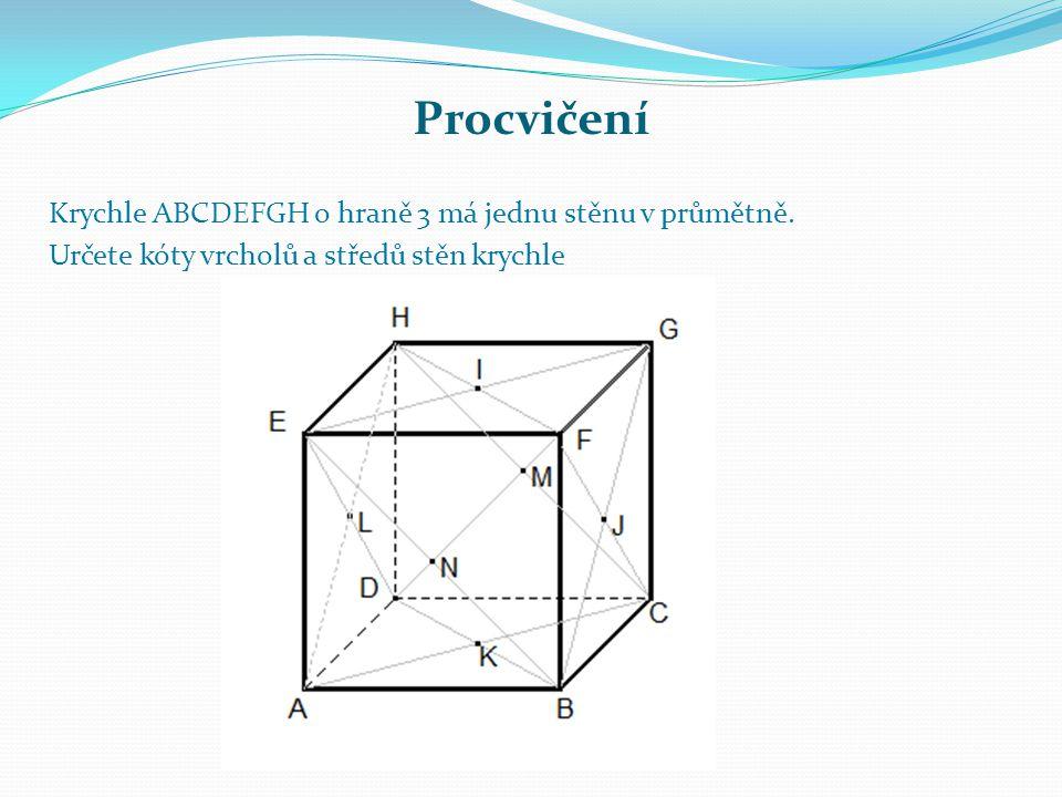 Procvičení Krychle ABCDEFGH o hraně 3 má jednu stěnu v průmětně. Určete kóty vrcholů a středů stěn krychle