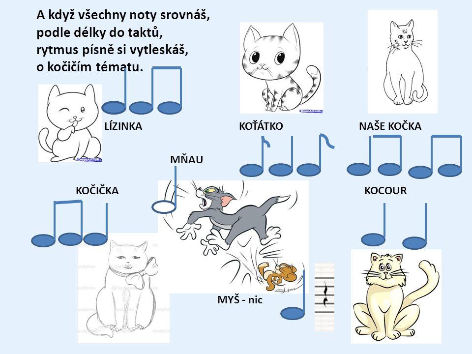 A když všechny noty srovnáš, podle délky do taktů, rytmus písně si vytleskáš, o kočičím tématu.