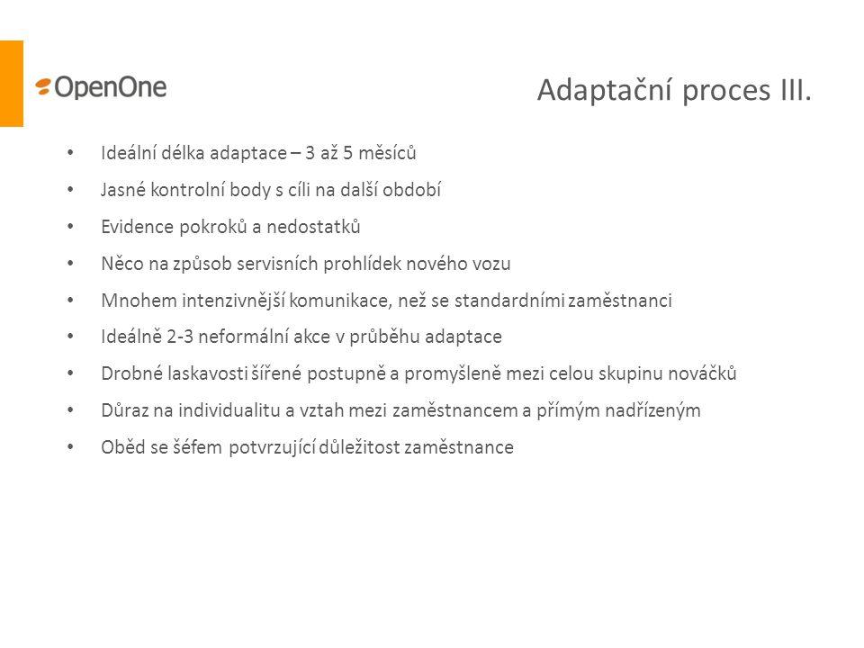 Adaptační proces III. • Ideální délka adaptace – 3 až 5 měsíců • Jasné kontrolní body s cíli na další období • Evidence pokroků a nedostatků • Něco na