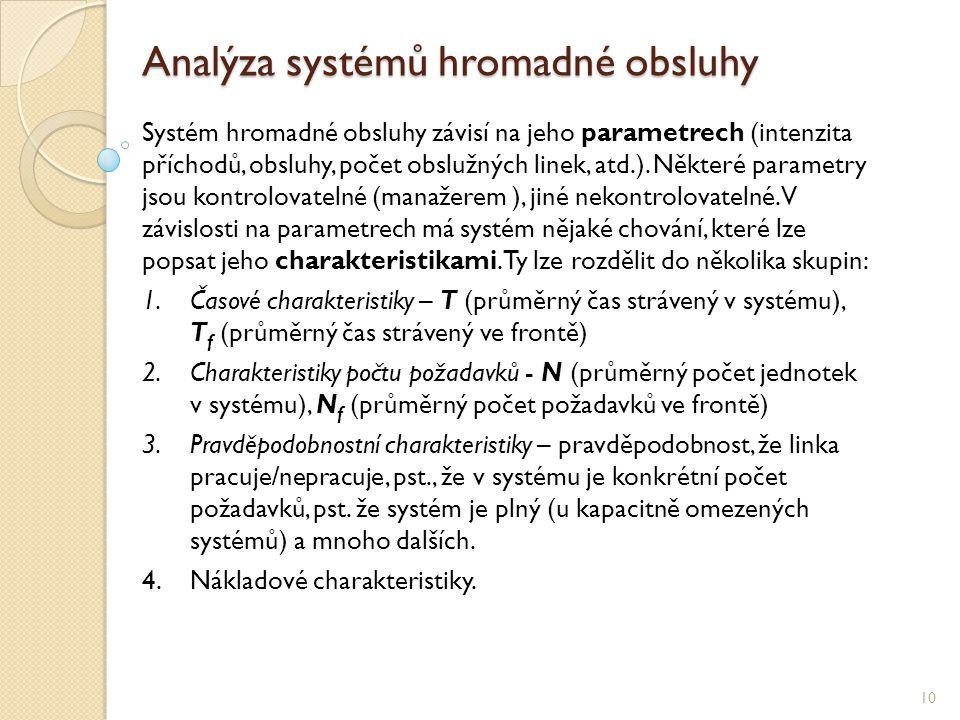 Analýza systémů hromadné obsluhy 10 Systém hromadné obsluhy závisí na jeho parametrech (intenzita příchodů, obsluhy, počet obslužných linek, atd.).