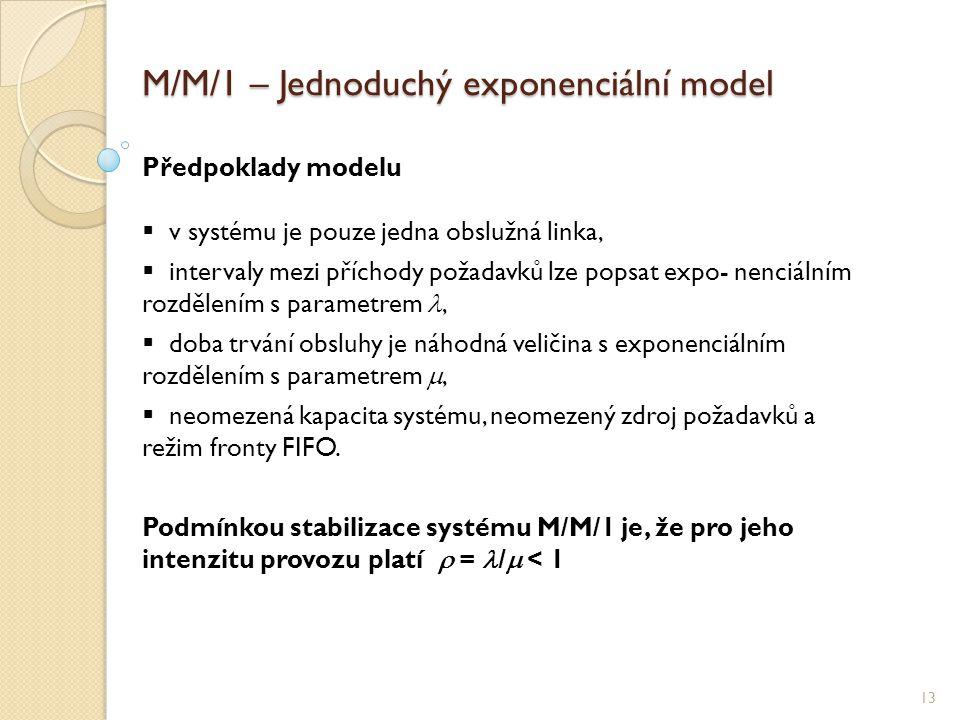 M/M/1 – Jednoduchý exponenciální model 13 Předpoklady modelu  v systému je pouze jedna obslužná linka,  intervaly mezi příchody požadavků lze popsat expo- nenciálním rozdělením s parametrem ,  doba trvání obsluhy je náhodná veličina s exponenciálním rozdělením s parametrem ,  neomezená kapacita systému, neomezený zdroj požadavků a režim fronty FIFO.