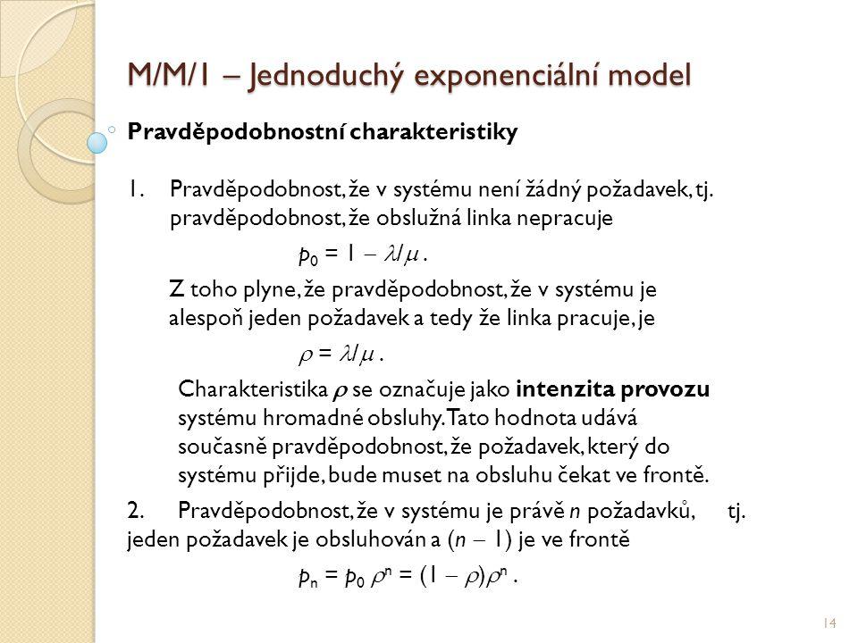 M/M/1 – Jednoduchý exponenciální model 14 Pravděpodobnostní charakteristiky 1.Pravděpodobnost, že v systému není žádný požadavek, tj.