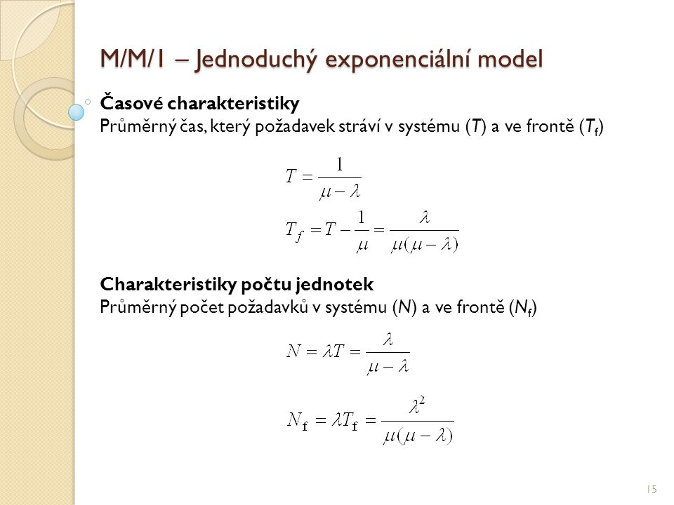M/M/1 – Jednoduchý exponenciální model 15 Časové charakteristiky Průměrný čas, který požadavek stráví v systému (T) a ve frontě (T f ) Charakteristiky počtu jednotek Průměrný počet požadavků v systému (N) a ve frontě (N f )