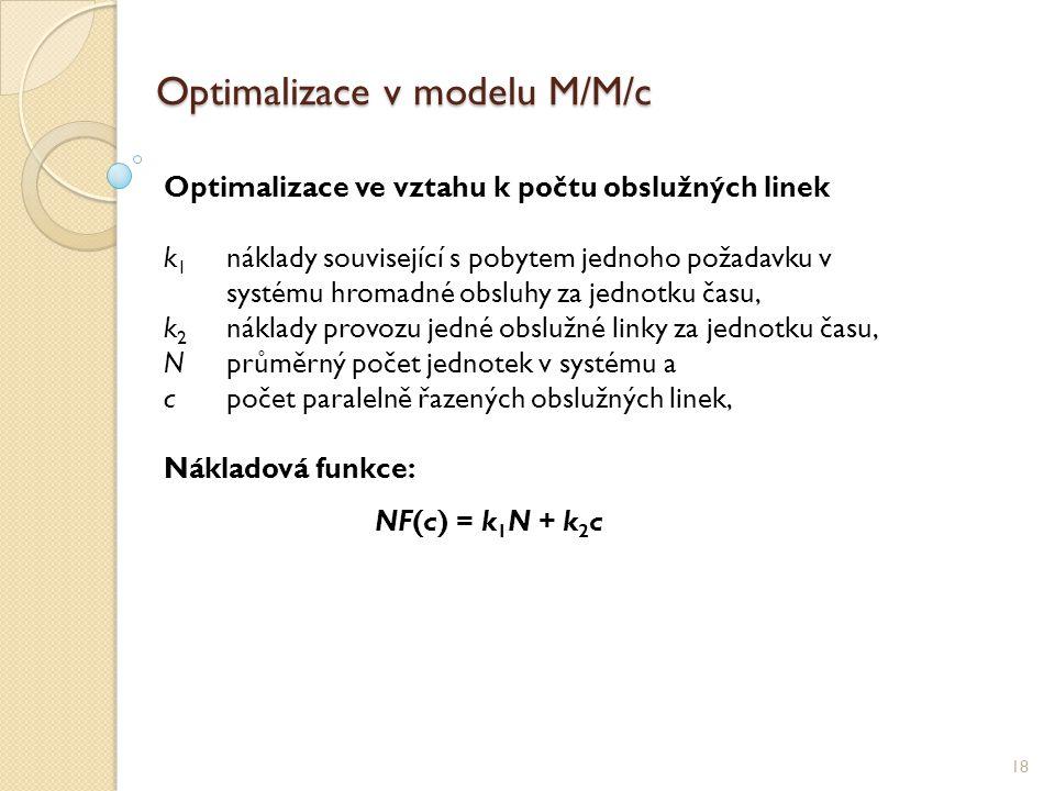 Optimalizace v modelu M/M/c 18 Optimalizace ve vztahu k počtu obslužných linek k 1 náklady související s pobytem jednoho požadavku v systému hromadné obsluhy za jednotku času, k 2 náklady provozu jedné obslužné linky za jednotku času, Nprůměrný počet jednotek v systému a cpočet paralelně řazených obslužných linek, Nákladová funkce: NF(c) = k 1 N + k 2 c