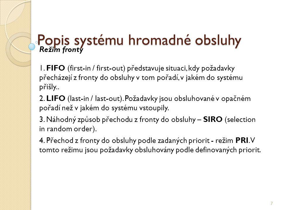 Popis systému hromadné obsluhy 7 Režim fronty 1.