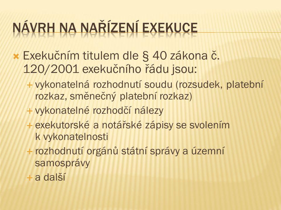  Exekučním titulem dle § 40 zákona č.