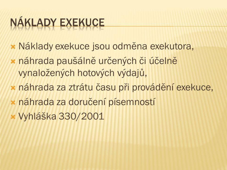  Náklady exekuce jsou odměna exekutora,  náhrada paušálně určených či účelně vynaložených hotových výdajů,  náhrada za ztrátu času při provádění exekuce,  náhrada za doručení písemností  Vyhláška 330/2001