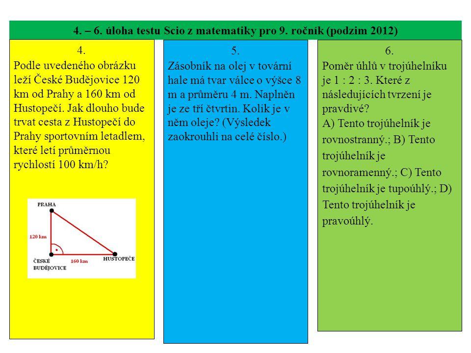 4. – 6. úloha testu Scio z matematiky pro 9. ročník (podzim 2012) 4. Podle uvedeného obrázku leží České Budějovice 120 km od Prahy a 160 km od Hustope