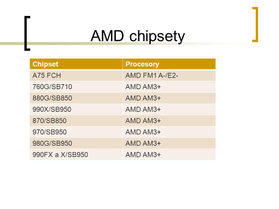 AMD chipsety ChipsetProcesory A75 FCHAMD FM1 A-/E2- 760G/SB710AMD AM3+ 880G/SB850AMD AM3+ 990X/SB950AMD AM3+ 870/SB850AMD AM3+ 970/SB950AMD AM3+ 980G/