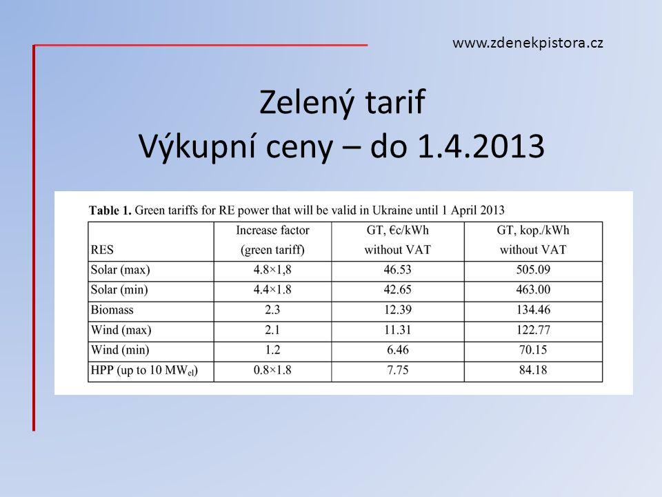 Zelený tarif Výkupní ceny – do 1.4.2013 www.zdenekpistora.cz