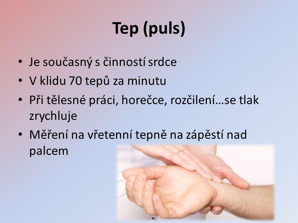 Tep (puls) • Je současný s činností srdce • V klidu 70 tepů za minutu • Při tělesné práci, horečce, rozčilení…se tlak zrychluje • Měření na vřetenní tepně na zápěstí nad palcem
