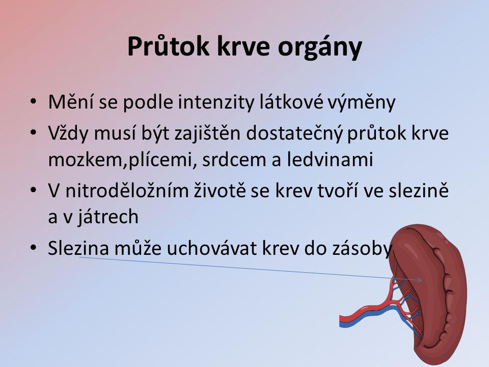 Průtok krve orgány • Mění se podle intenzity látkové výměny • Vždy musí být zajištěn dostatečný průtok krve mozkem,plícemi, srdcem a ledvinami • V nitroděložním životě se krev tvoří ve slezině a v játrech • Slezina může uchovávat krev do zásoby