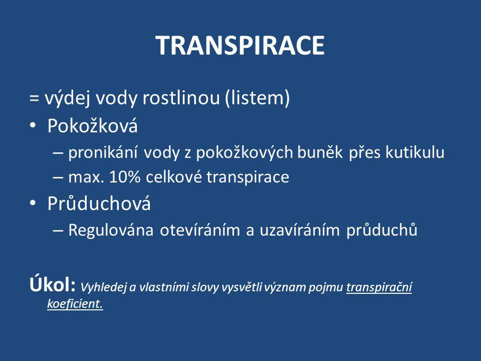 TRANSPIRACE = výdej vody rostlinou (listem) • Pokožková – pronikání vody z pokožkových buněk přes kutikulu – max. 10% celkové transpirace • Průduchová