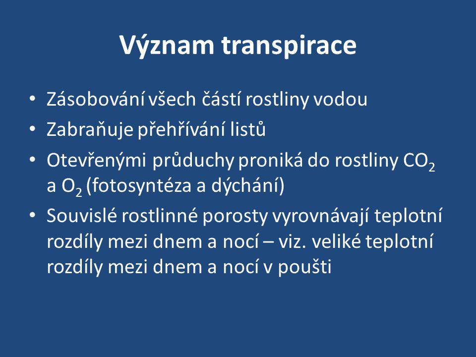 Význam transpirace • Zásobování všech částí rostliny vodou • Zabraňuje přehřívání listů • Otevřenými průduchy proniká do rostliny CO 2 a O 2 (fotosynt