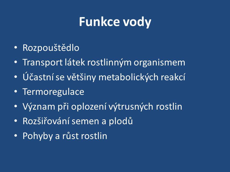 Funkce vody • Rozpouštědlo • Transport látek rostlinným organismem • Účastní se většiny metabolických reakcí • Termoregulace • Význam při oplození výt
