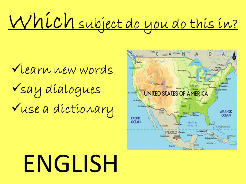 Which subject do you do this in  learn new words  say dialogues  use a dictionary ENGLISH