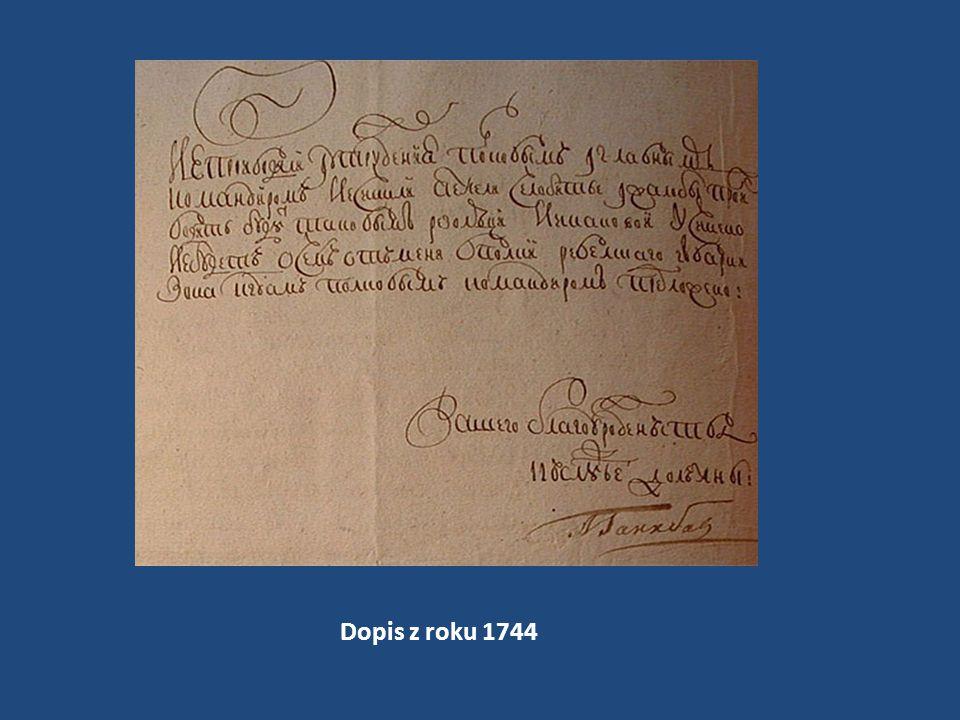 Dopis z roku 1744