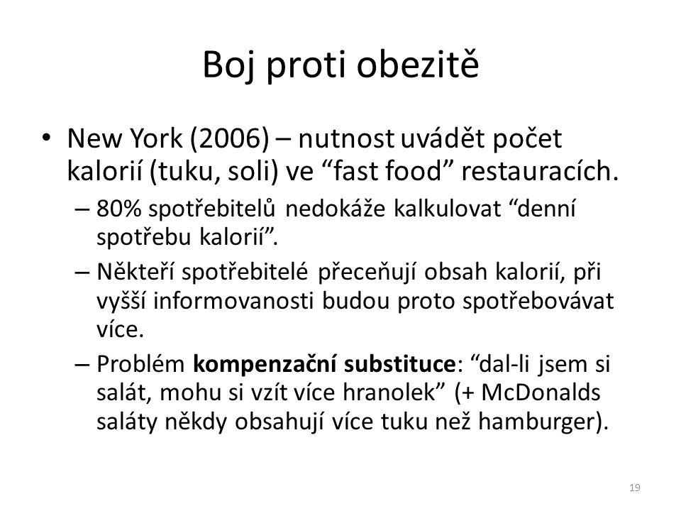 """Boj proti obezitě • New York (2006) – nutnost uvádět počet kalorií (tuku, soli) ve """"fast food"""" restauracích. – 80% spotřebitelů nedokáže kalkulovat """"d"""
