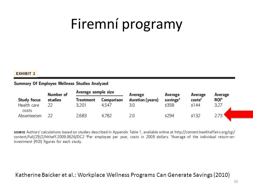 Firemní programy Katherine Baicker et al.: Workplace Wellness Programs Can Generate Savings (2010) 26