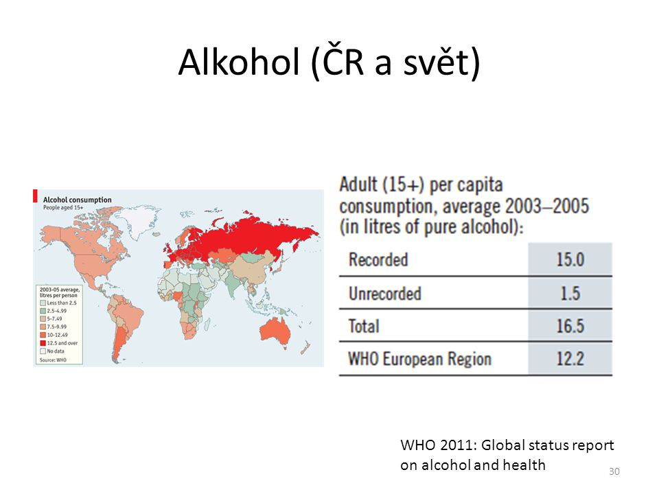 Alkohol (ČR a svět) 30 WHO 2011: Global status report on alcohol and health