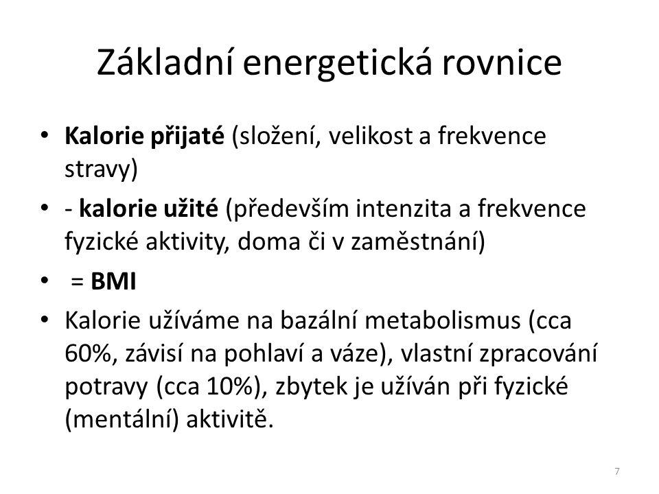 Základní energetická rovnice • Kalorie přijaté (složení, velikost a frekvence stravy) • - kalorie užité (především intenzita a frekvence fyzické aktiv