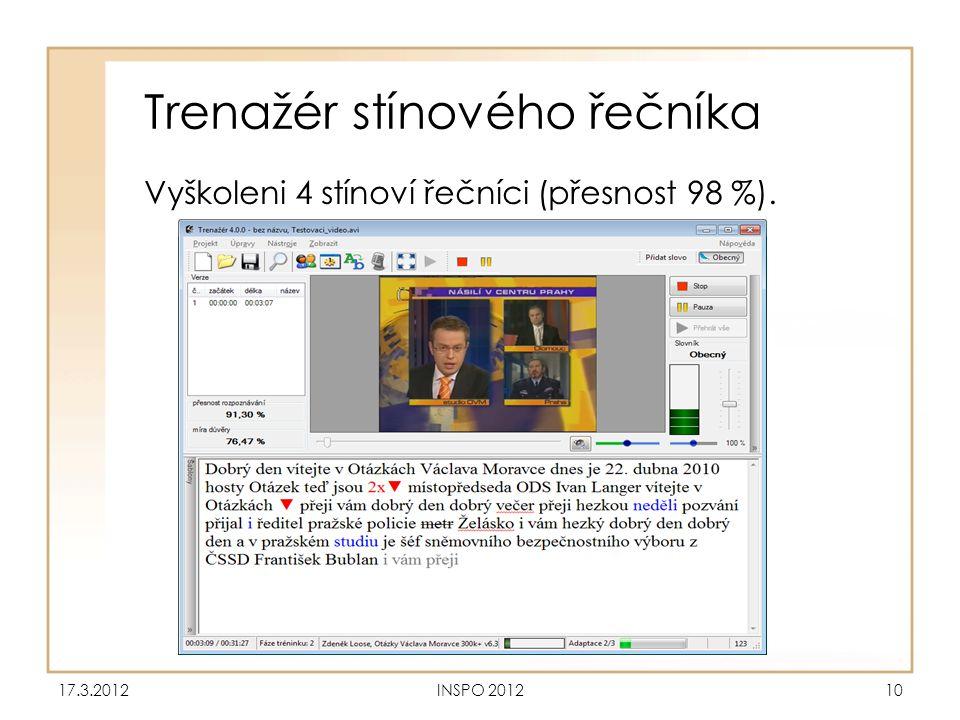 Trenažér stínového řečníka Vyškoleni 4 stínoví řečníci (přesnost 98 %). 17.3.2012INSPO 201210