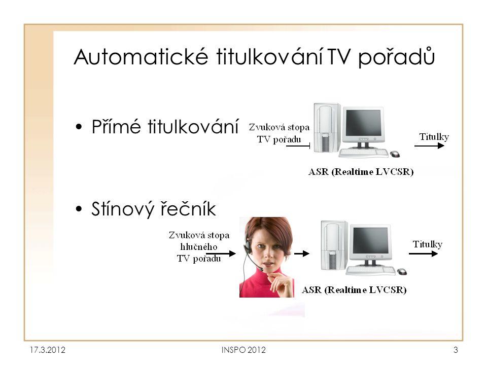 Automatické titulkování TV pořadů •Přímé titulkování •Stínový řečník 17.3.2012INSPO 20123