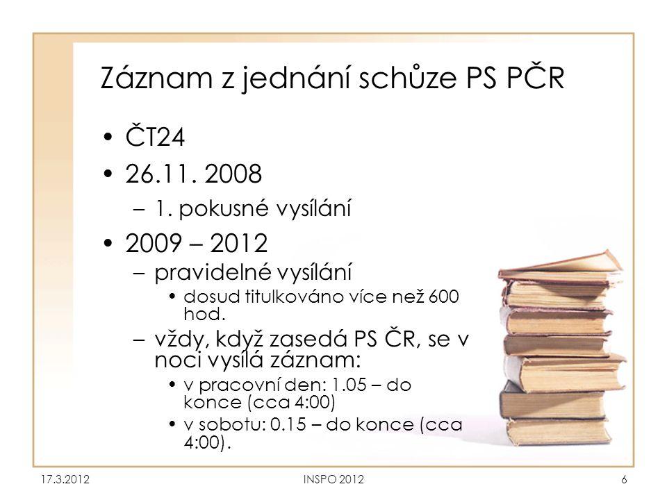 Záznam z jednání schůze PS PČR •ČT24 •26.11. 2008 –1. pokusné vysílání •2009 – 2012 –pravidelné vysílání •dosud titulkováno více než 600 hod. –vždy, k