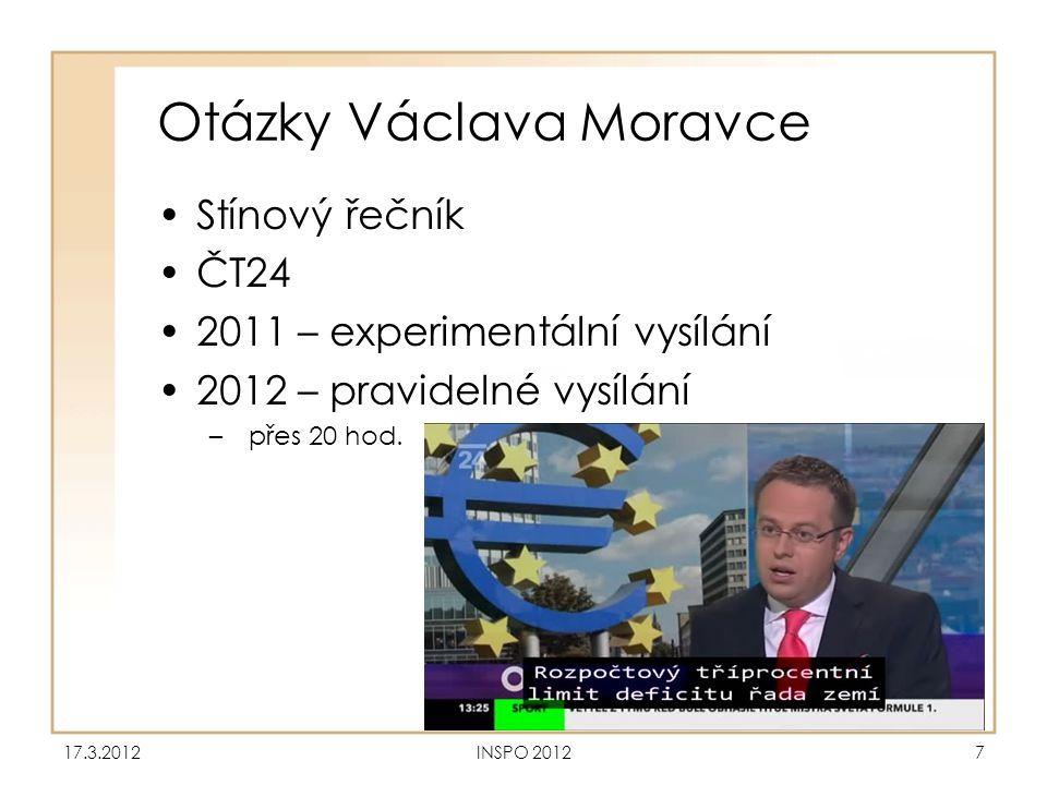 Otázky Václava Moravce •Stínový řečník •ČT24 •2011 – experimentální vysílání •2012 – pravidelné vysílání –přes 20 hod. 17.3.2012INSPO 20127