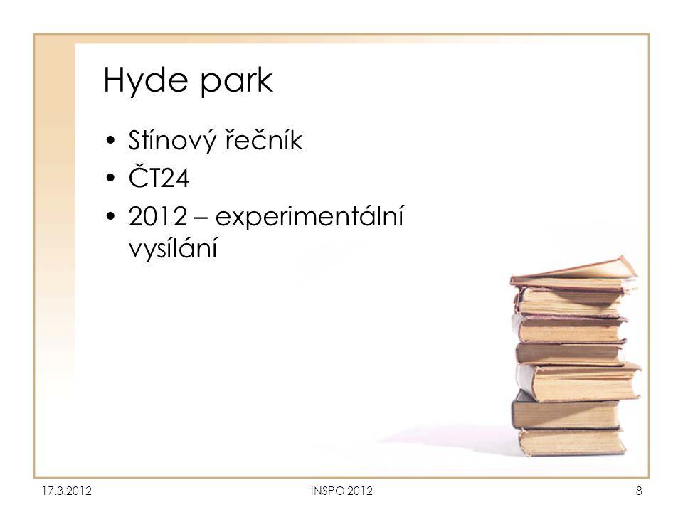Hyde park •Stínový řečník •ČT24 •2012 – experimentální vysílání 17.3.2012INSPO 20128