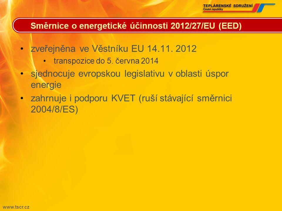 www.tscr.cz •Směrnice o energetické účinnosti (EED) •Cíle, zaměření EED •Druhy opatření EED •Klíčové články z pohledu teplárenství •Závěrečné zhodnocení a doporučení Osnova
