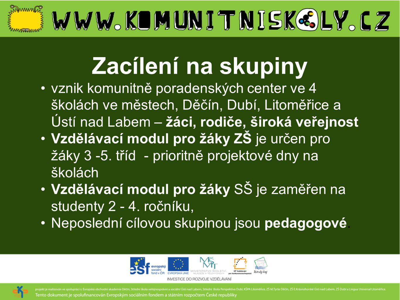 Zacílení na skupiny •vznik komunitně poradenských center ve 4 školách ve městech, Děčín, Dubí, Litoměřice a Ústí nad Labem – žáci, rodiče, široká veře