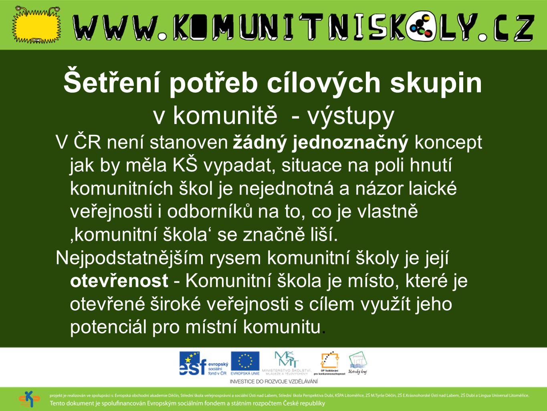 Šetření potřeb cílových skupin v komunitě - výstupy V ČR není stanoven žádný jednoznačný koncept jak by měla KŠ vypadat, situace na poli hnutí komunit