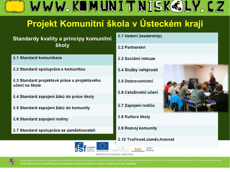 Projekt Komunitní škola v Ústeckém kraji Standardy kvality a principy komunitní školy č.1 Standard komunikace č.2 Standard spolupráce s komunitou č.3