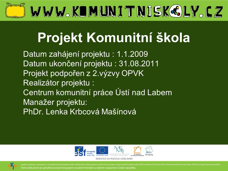 Projekt Komunitní škola Datum zahájení projektu : 1.1.2009 Datum ukončení projektu : 31.08.2011 Projekt podpořen z 2.výzvy OPVK Realizátor projektu :