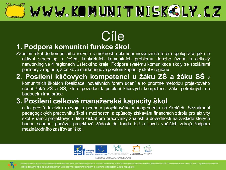 Cíle 1. Podpora komunitní funkce škol. Zapojení škol do komunitního rozvoje s možností uplatnění inovativních forem spolupráce jako je aktivní screeni