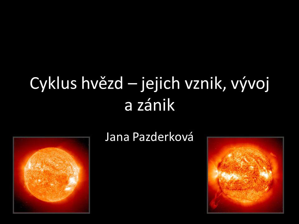 Cyklus hvězd – jejich vznik, vývoj a zánik Jana Pazderková