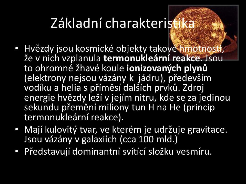 Základní charakteristika • Hvězdy jsou kosmické objekty takové hmotnosti, že v nich vzplanula termonukleární reakce. Jsou to ohromné žhavé koule ioniz