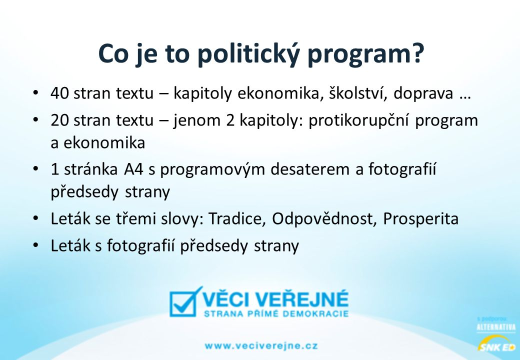 Co je to politický program.