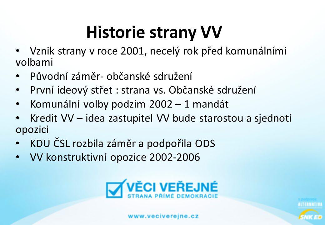 Historie strany VV • Vznik strany v roce 2001, necelý rok před komunálními volbami • Původní záměr- občanské sdružení • První ideový střet : strana vs.