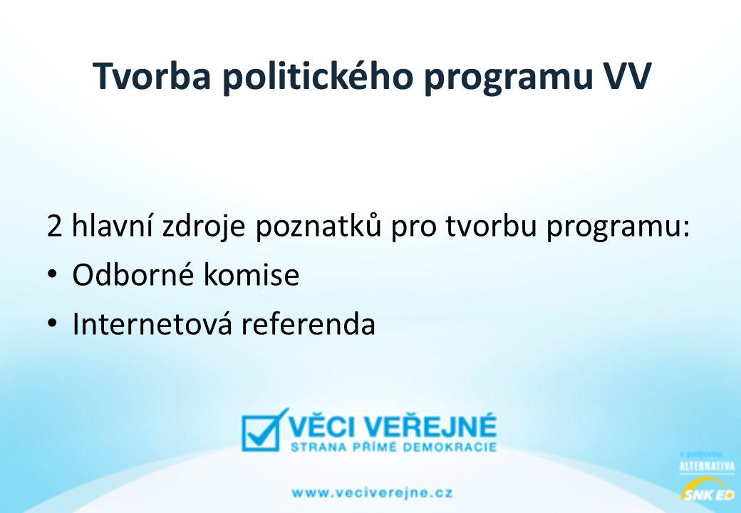 Tvorba politického programu VV 2 hlavní zdroje poznatků pro tvorbu programu: • Odborné komise • Internetová referenda