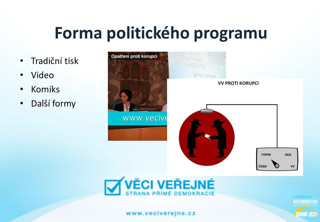 Forma politického programu • Tradiční tisk • Video • Komiks • Další formy