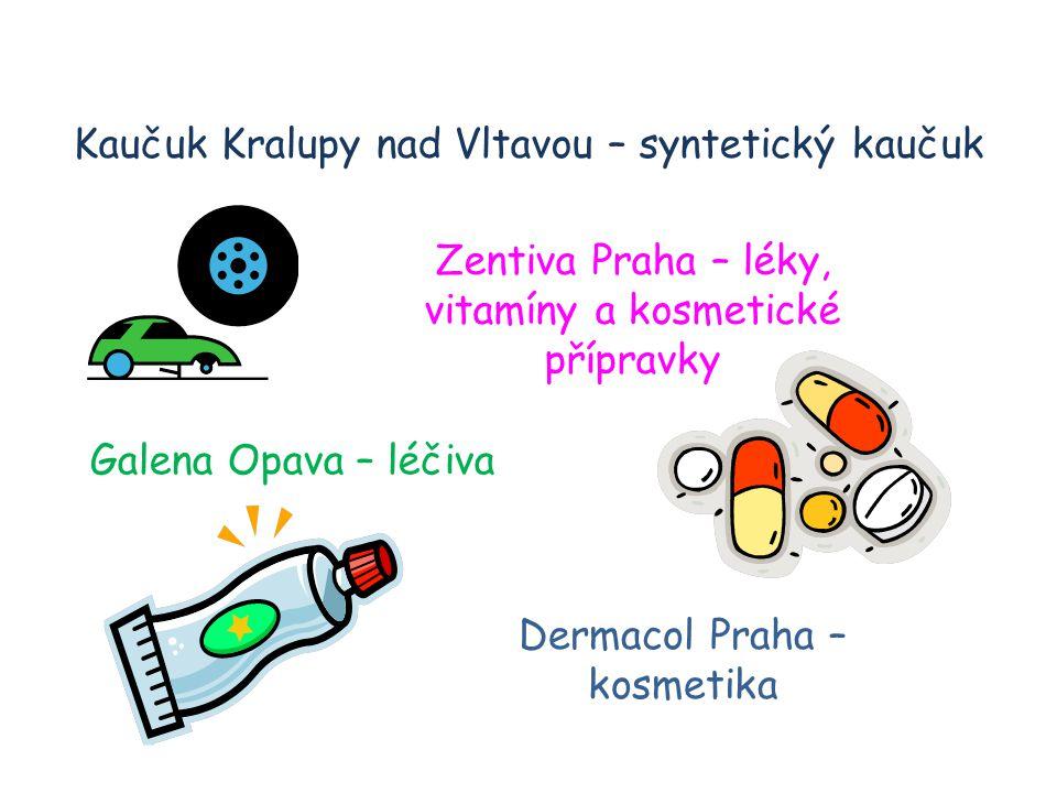 Kaučuk Kralupy nad Vltavou – syntetický kaučuk Zentiva Praha – léky, vitamíny a kosmetické přípravky Galena Opava – léčiva Dermacol Praha – kosmetika