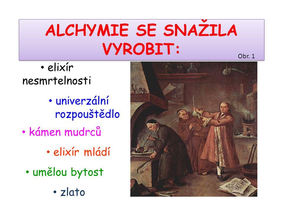 • zlato • umělou bytost • elixír mládí ALCHYMIE SE SNAŽILA VYROBIT: • kámen mudrců • univerzální rozpouštědlo • elixír nesmrtelnosti Obr. 1