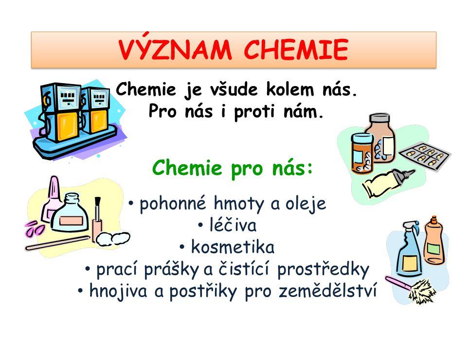 VÝZNAM CHEMIE Chemie je všude kolem nás. Pro nás i proti nám. • pohonné hmoty a oleje • léčiva • kosmetika • prací prášky a čistící prostředky • hnoji