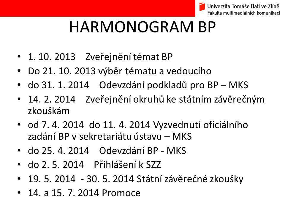 HARMONOGRAM BP • 1. 10. 2013 Zveřejnění témat BP • Do 21.