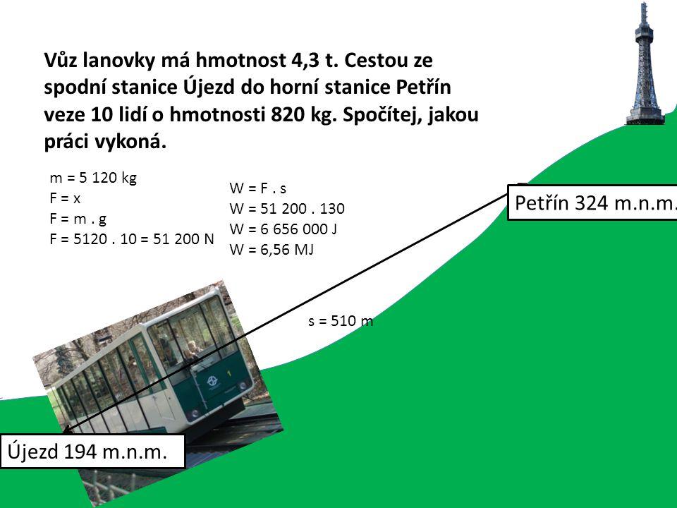 Vůz lanovky má hmotnost 4,3 t. Cestou ze spodní stanice Újezd do horní stanice Petřín veze 10 lidí o hmotnosti 820 kg. Spočítej, jakou práci vykoná. s