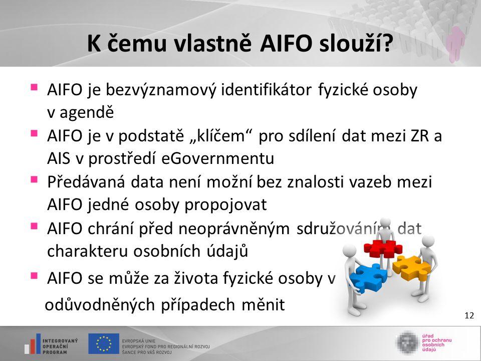 """12 K čemu vlastně AIFO slouží?  AIFO je bezvýznamový identifikátor fyzické osoby v agendě  AIFO je v podstatě """"klíčem"""" pro sdílení dat mezi ZR a AIS"""