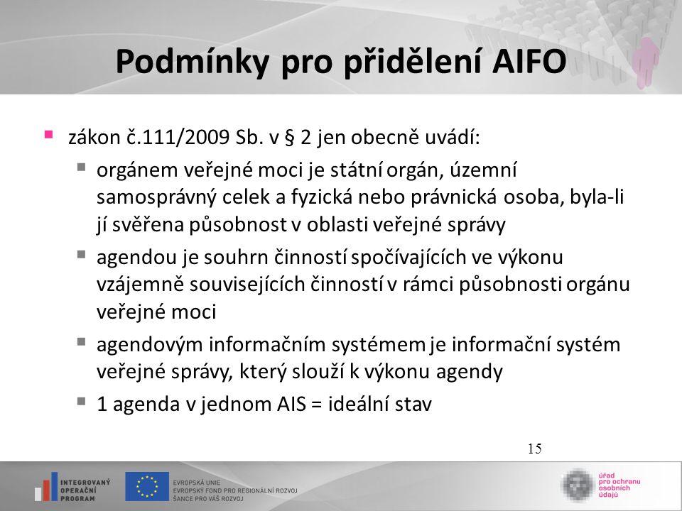 15 Podmínky pro přidělení AIFO  zákon č.111/2009 Sb. v § 2 jen obecně uvádí:  orgánem veřejné moci je státní orgán, územní samosprávný celek a fyzic